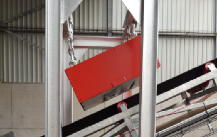 Magneet transportband systeem.